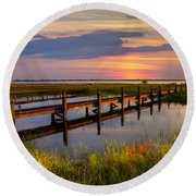 Marsh Harbor Round Beach Towel by Debra and Dave Vanderlaan