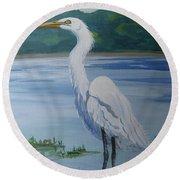 Marsh Land Egret Round Beach Towel