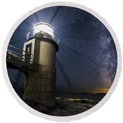 Marshall Lighthouse And The Night Sky Round Beach Towel