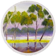 Round Beach Towel featuring the painting Marshlands Murray River Red River Gums by Pamela  Meredith