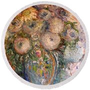 Round Beach Towel featuring the painting Marshmallow Flowers by Laurie L
