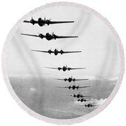 Martin B-10s In Formation Round Beach Towel