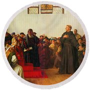 Round Beach Towel featuring the painting Martin Luther Before The Diet Of Worms by Celestial Images
