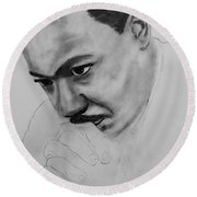 Round Beach Towel featuring the drawing Martin Luther King Jr. Mlk Jr. by Michael Cross