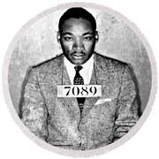 Martin Luther King Mugshot Round Beach Towel by Bill Cannon