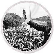Martin Luther King The Great March On Washington Lincoln Memorial August 28 1963-2014 Round Beach Towel