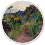 Martinique Landscape, 1887 Oil On Canvas Round Beach Towel