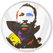 Round Beach Towel featuring the painting Marvin Gaye by Stormm Bradshaw