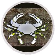 Maryland Country Roads - Camo Crabby 1a Round Beach Towel by Michael Mazaika