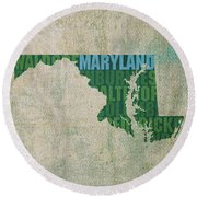 Maryland Word Art State Map On Canvas Round Beach Towel