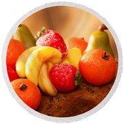 Marzipan Fruits Round Beach Towel by Amanda Elwell
