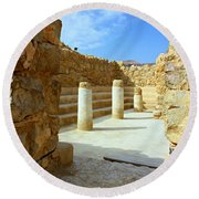 Masada Synagogue Round Beach Towel