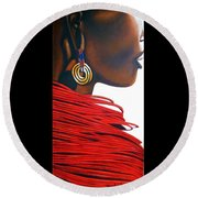 Masai Bride - Original Artwork Round Beach Towel