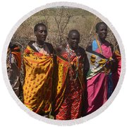 Masai Women Chorus Round Beach Towel