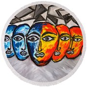 Masks Round Beach Towel