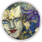 Masquerade Blues Round Beach Towel