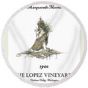 Masquerade Merlot Round Beach Towel by Julio Lopez