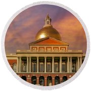 Massachusetts State House Round Beach Towel