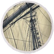 Mast And Rigging Postcard Round Beach Towel