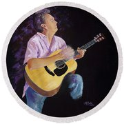 Round Beach Towel featuring the painting Master In The Spotlight by Margaret Bobb