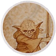 Round Beach Towel featuring the painting Master Yoda Jedi Fight Beer Painting by Georgeta  Blanaru