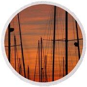 Masts At Sunset Round Beach Towel