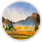 Round Beach Towel featuring the painting Matanuska Autumn by Teresa Ascone