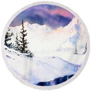Round Beach Towel featuring the painting Matanuska Sunset Impression by Teresa Ascone
