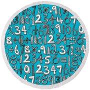 Math Doodle Blue Round Beach Towel
