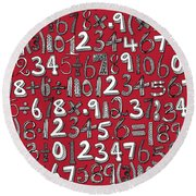 Math Doodle Red Round Beach Towel