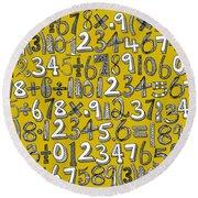 Math Doodle Yellow Round Beach Towel
