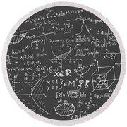 Maths Blackboard Round Beach Towel by Gina Dsgn