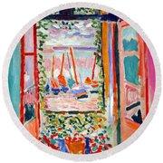 Matisse's Open Window At Collioure Round Beach Towel