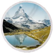 Matterhorn Cervin Reflection Round Beach Towel