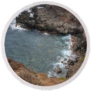 Round Beach Towel featuring the photograph Maui Cliff by Bryan Keil