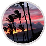 Maui Sunset Round Beach Towel by Peggy Hughes