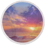 Coastal Hawaiian Beach Sunset Landscape And Ocean Seascape Round Beach Towel