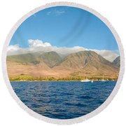 Maui's Southern Mountains   Round Beach Towel