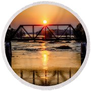 Maumee River At Grand Rapids Ohio Round Beach Towel