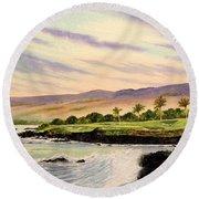 Mauna Kea Golf Course Hawaii Hole 3 Round Beach Towel by Bill Holkham