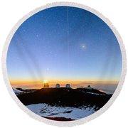 Mauna Kea Moonset 1 Round Beach Towel