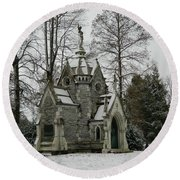 Round Beach Towel featuring the photograph Mausoleum In Winter by Kathy Barney