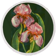 Mauve Irises Round Beach Towel