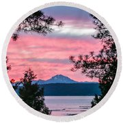 Mauve Magnificence Round Beach Towel by Jan Davies