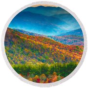 Max Patch Bald Fall Colors Round Beach Towel