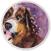May The Mountain Dog Round Beach Towel