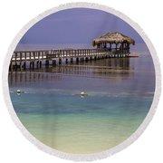 Maya Key Pier At Roatan Round Beach Towel