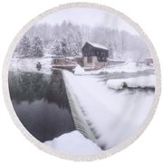 Mcconnell's Mill Winter  Round Beach Towel