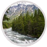 Mcdonald Creek In Glacier Np-mt Round Beach Towel by Ruth Hager