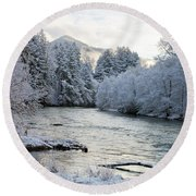Mckenzie River Round Beach Towel by Belinda Greb